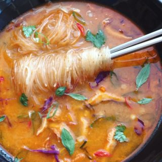 Thai Red Curry Noodle Soup with Vegetables