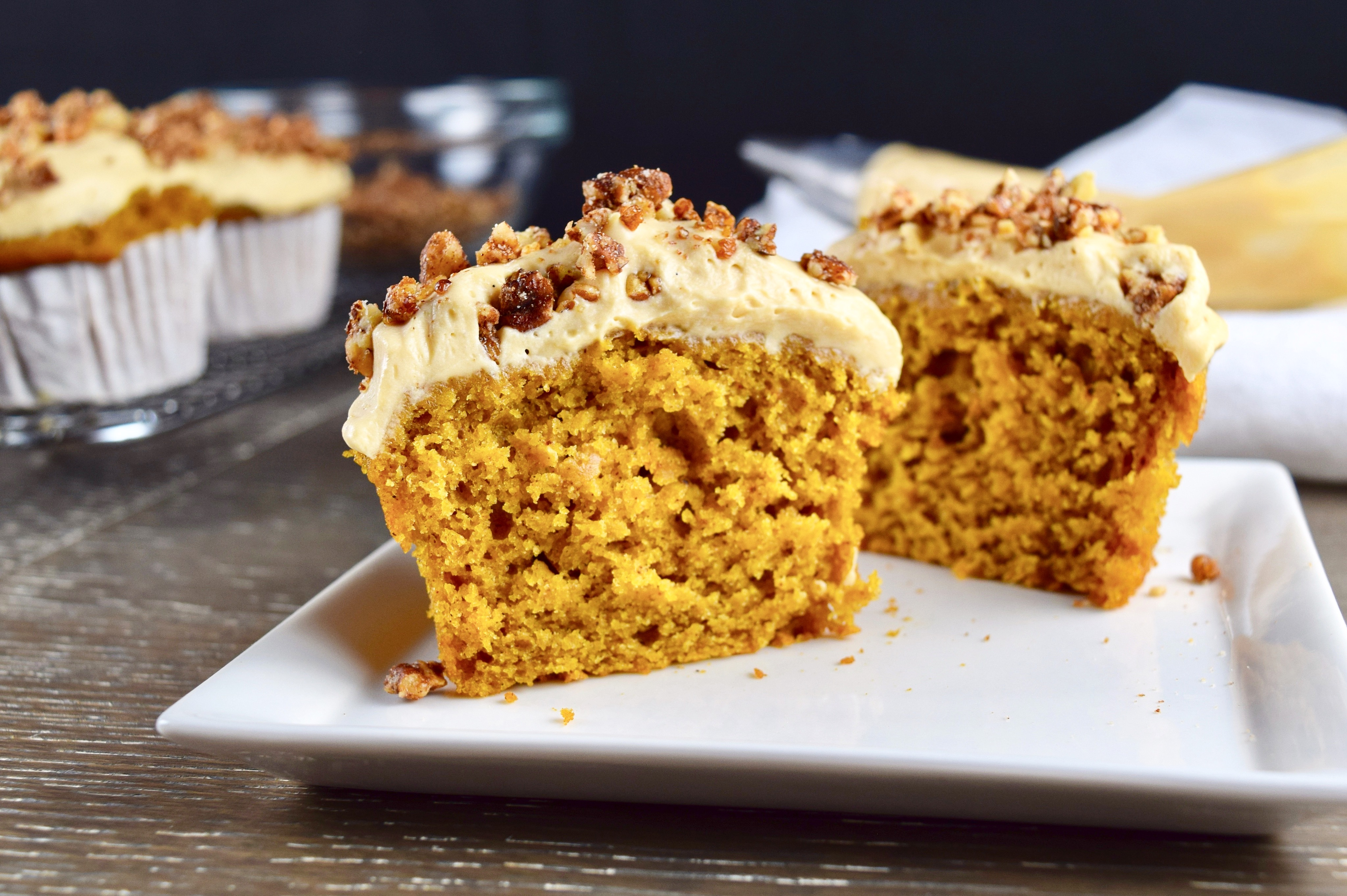 Pumpkin Spice Cupcakes with Caramel Cream Cheese Frosting Good