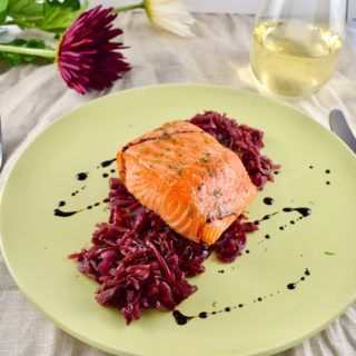 Wild Salmon with Sweet and Sour Braised Cabbage