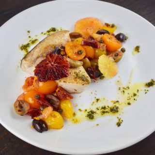 Swordfish with Warm Tomato-Citrus Relish and Gremolata Salsa