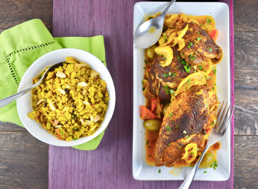Moroccan Chicken with Cauliflower Couscous Pilaf