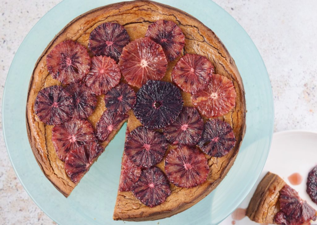 Flourless Blood Orange Cake Aerial Whole Sliced