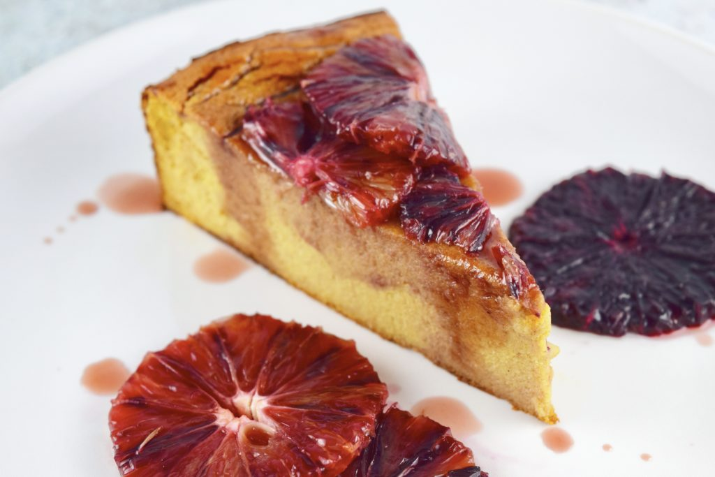 Flourless Blood Orange Cake Intact Slice Closeup