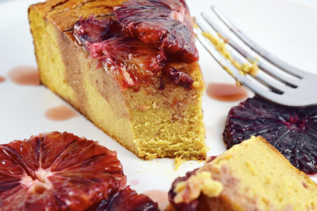 Flourless Blood Orange Cake Slice Eaten Front