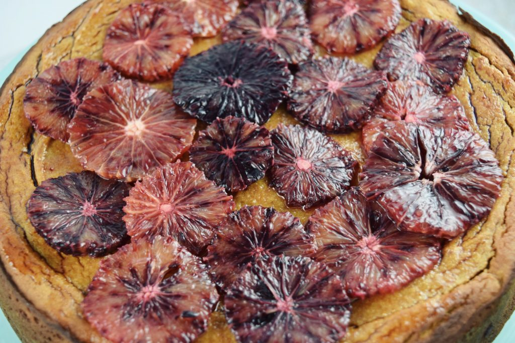 Flourless Blood Orange Cake Top Closeup