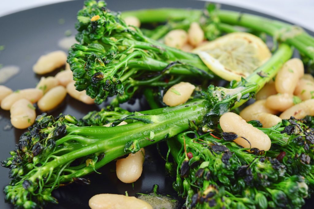 White Beans Broccolini Anchovy Closeup