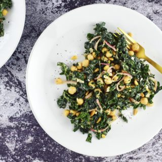 Plated Lemon Tahini Kale Salad with Chickpeas + Sumac