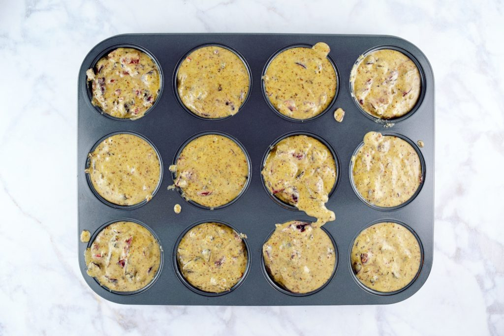 Cherry Chocolate Oat Muffin Batter in Pan