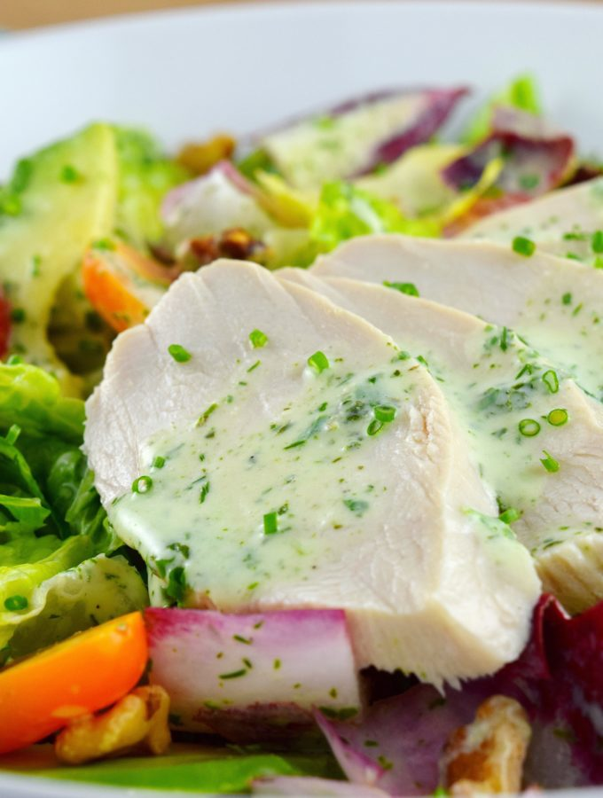 Poached Chicken Salad with Buttermilk Vinaigrette