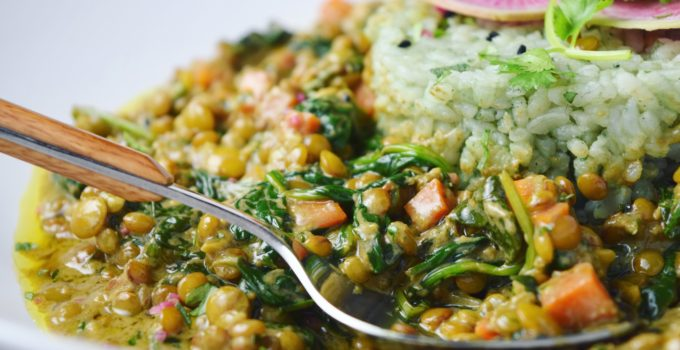 Coconut Curried Lentils with Spinach