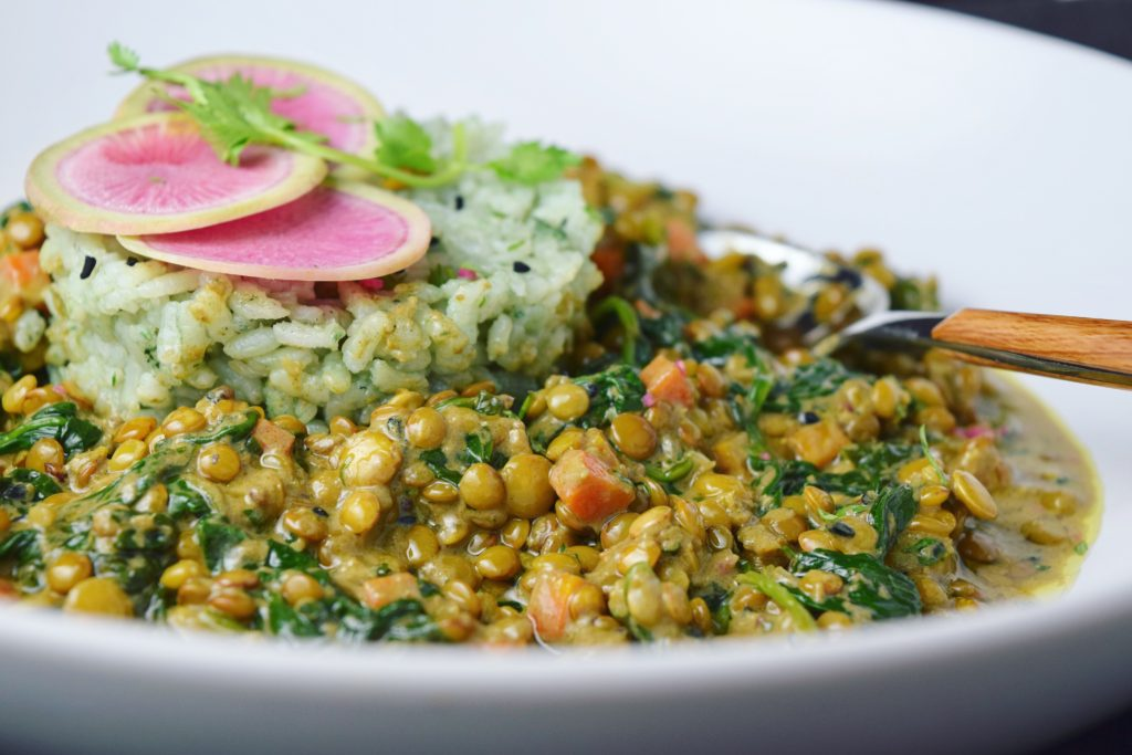 Plated Coconut Curried Lentils with Spinach