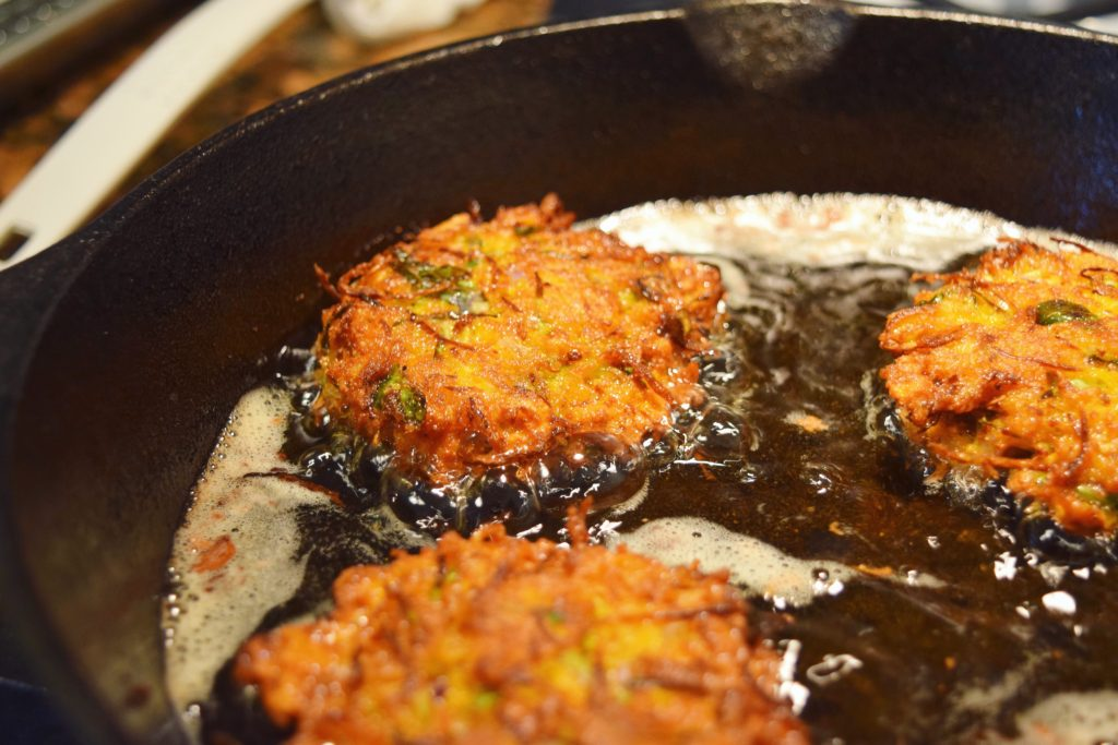 Sweet Potato Brussels Latkes Frying Second Side