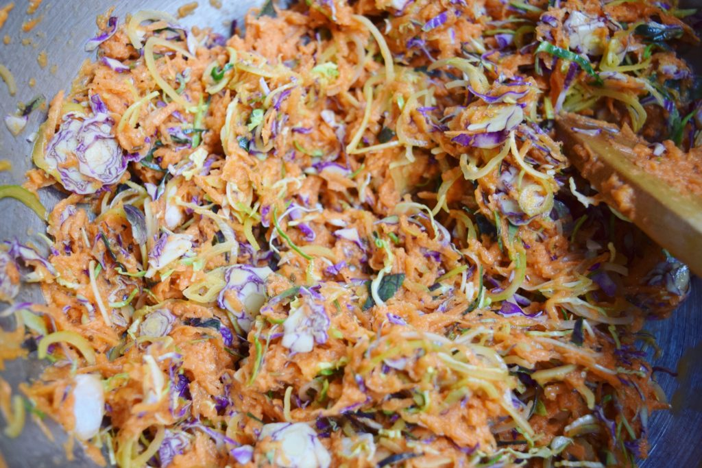Sweet Potato Brussels Latkes Mixture