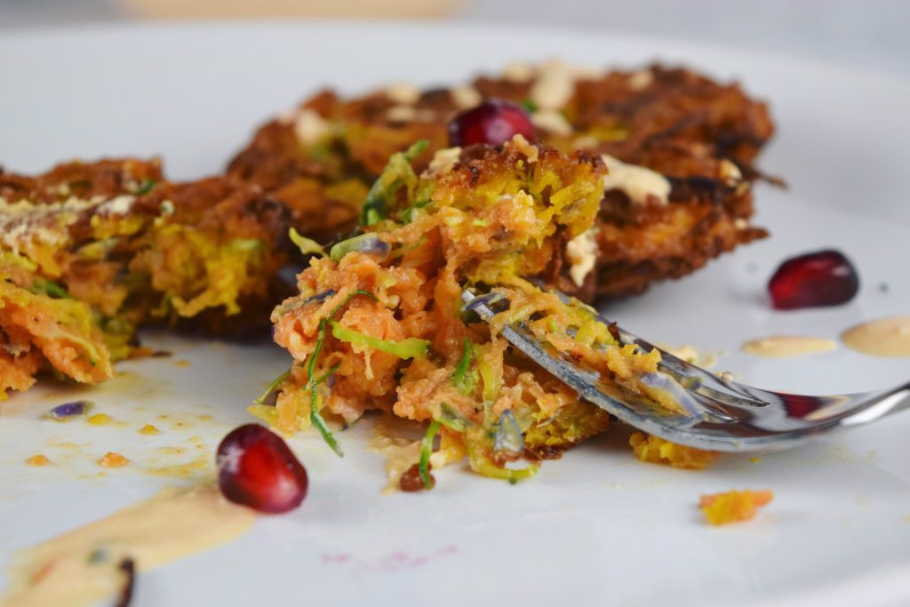 Sweet Potato Brussels Latkes Plate with Fork Interior