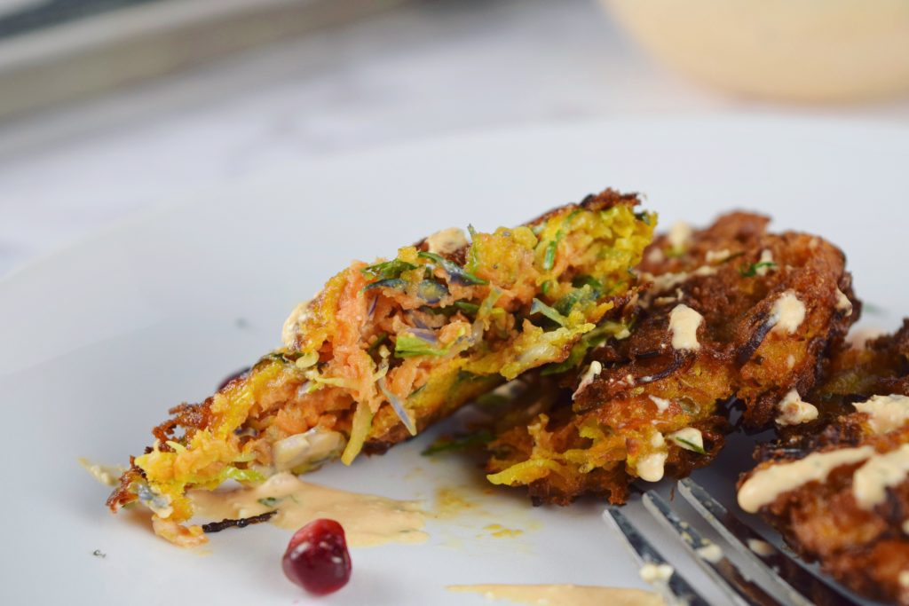 Sweet Potato Brussels Latkes Interior Closeup