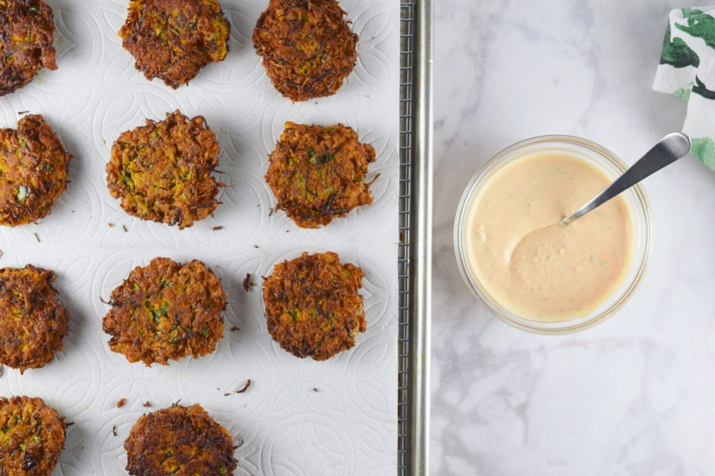 Sweet Potato Brussels Latkes Tray