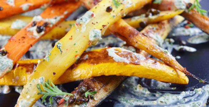 Carrots & Zucchini with Crispy Lentils & Yogurt Pesto