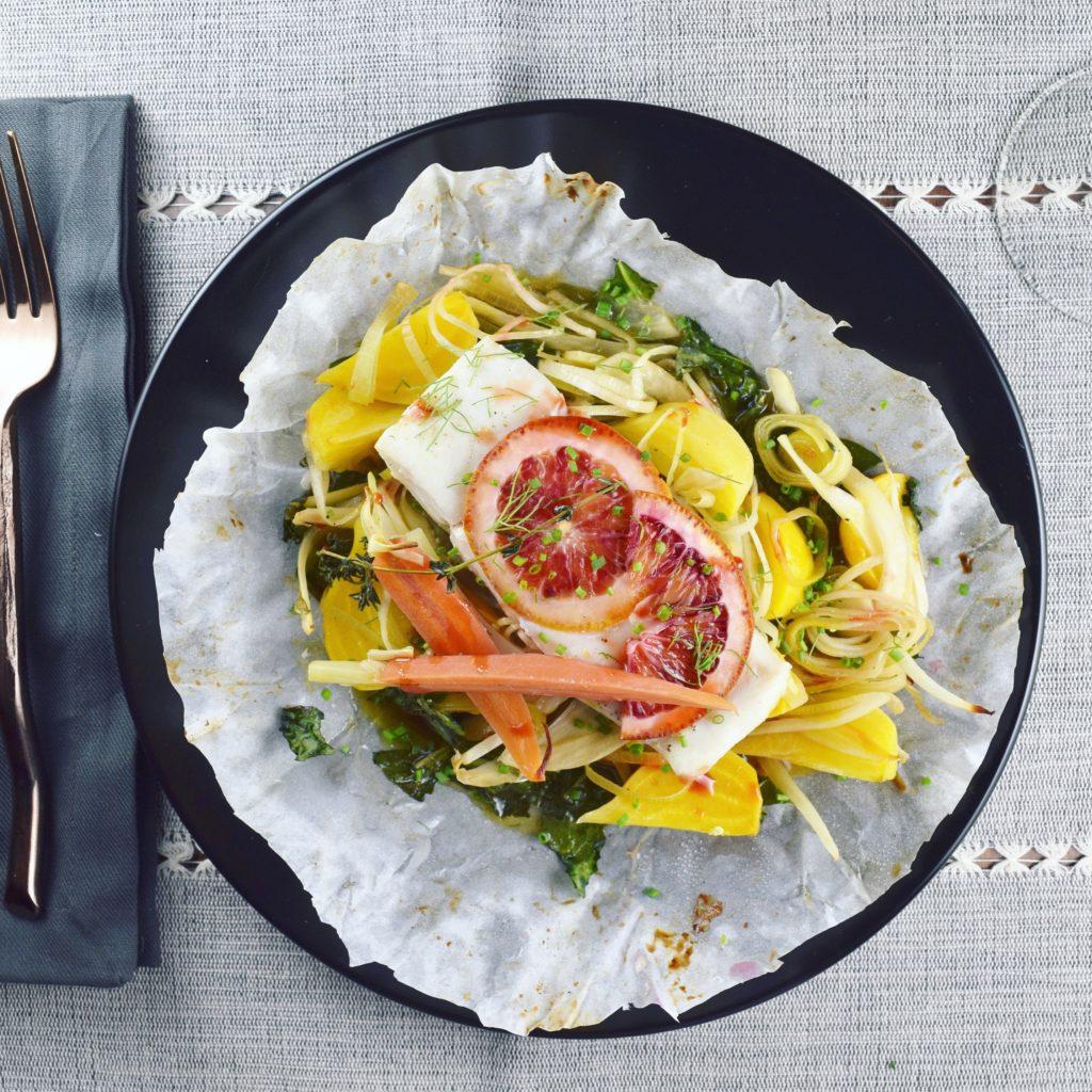 Plated Halibut and Veg Parcel with Blood Orange Gastrique