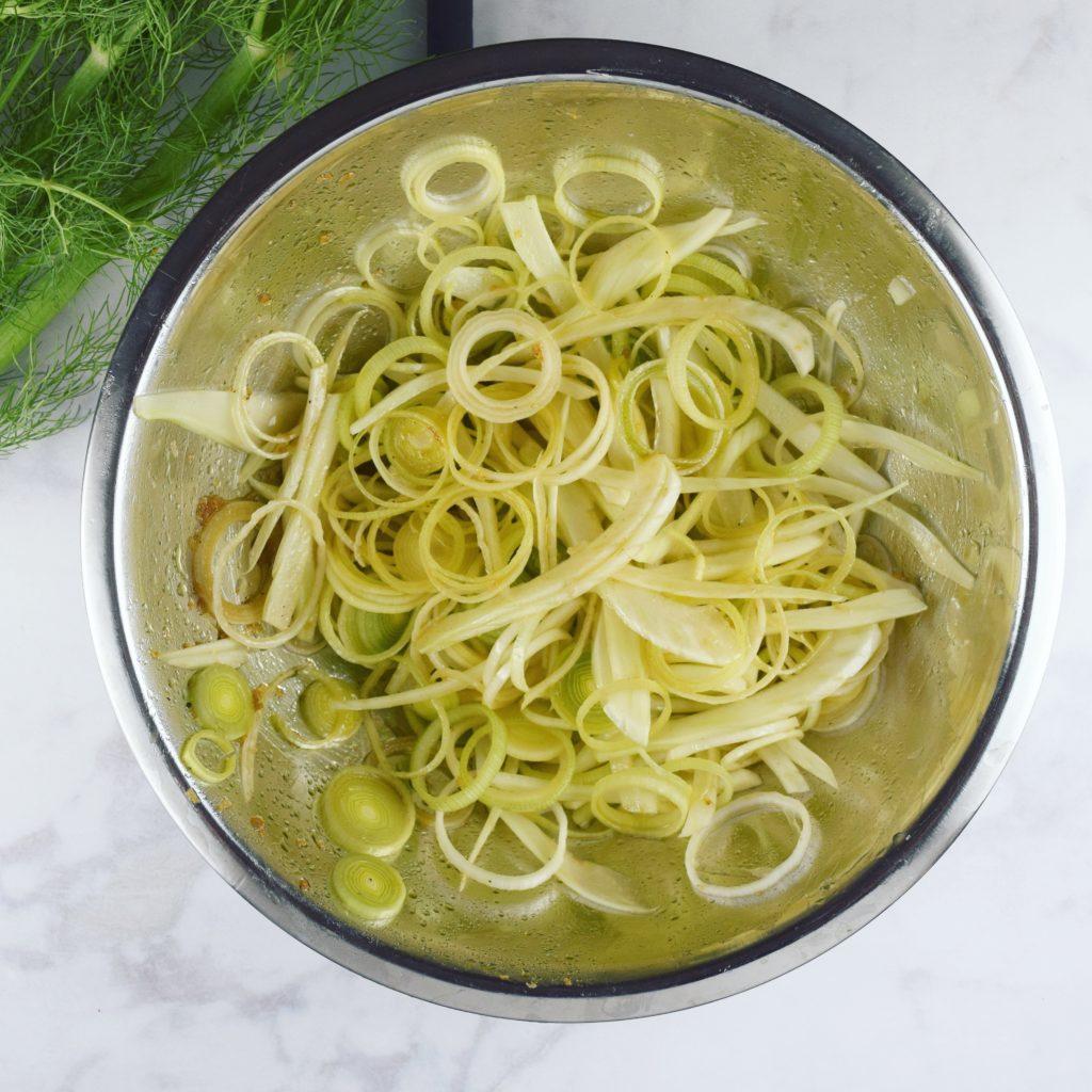 Marinating fennel and leek